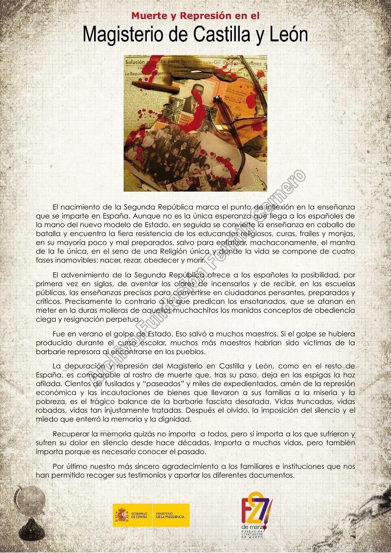 Exposición Muerte y Represión en el Magisterio de Castilla y León